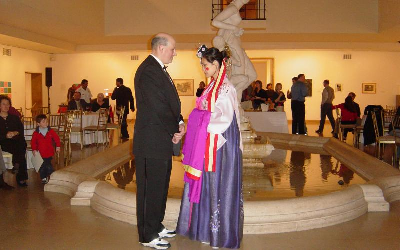 Wedding ceremony held during the Holiday party